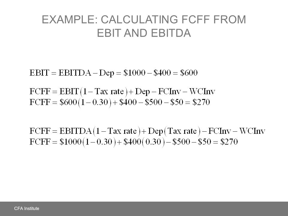 Example: Calculating FCFF from EBIT and EBITDA