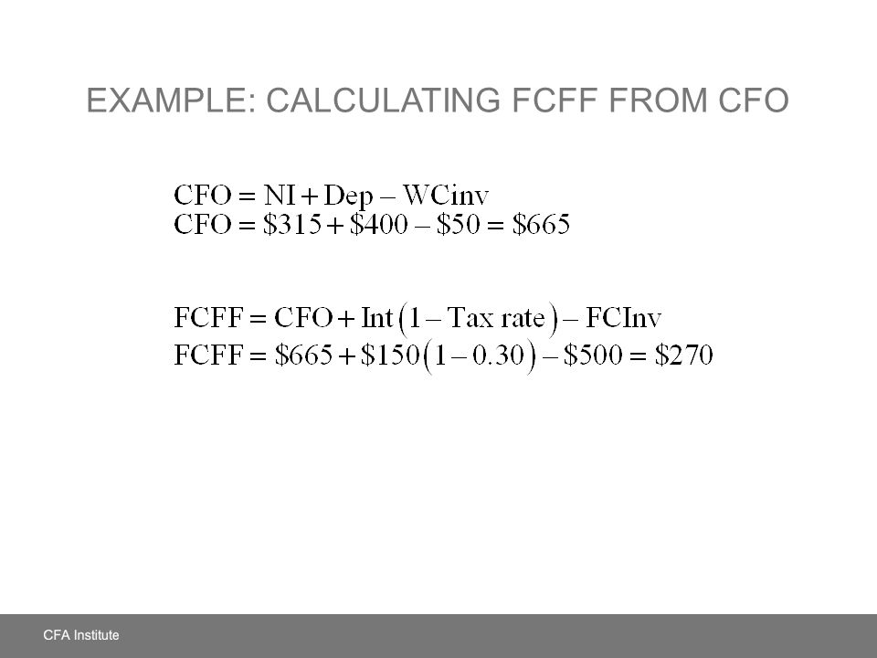 Example: Calculating FCFF from CFO