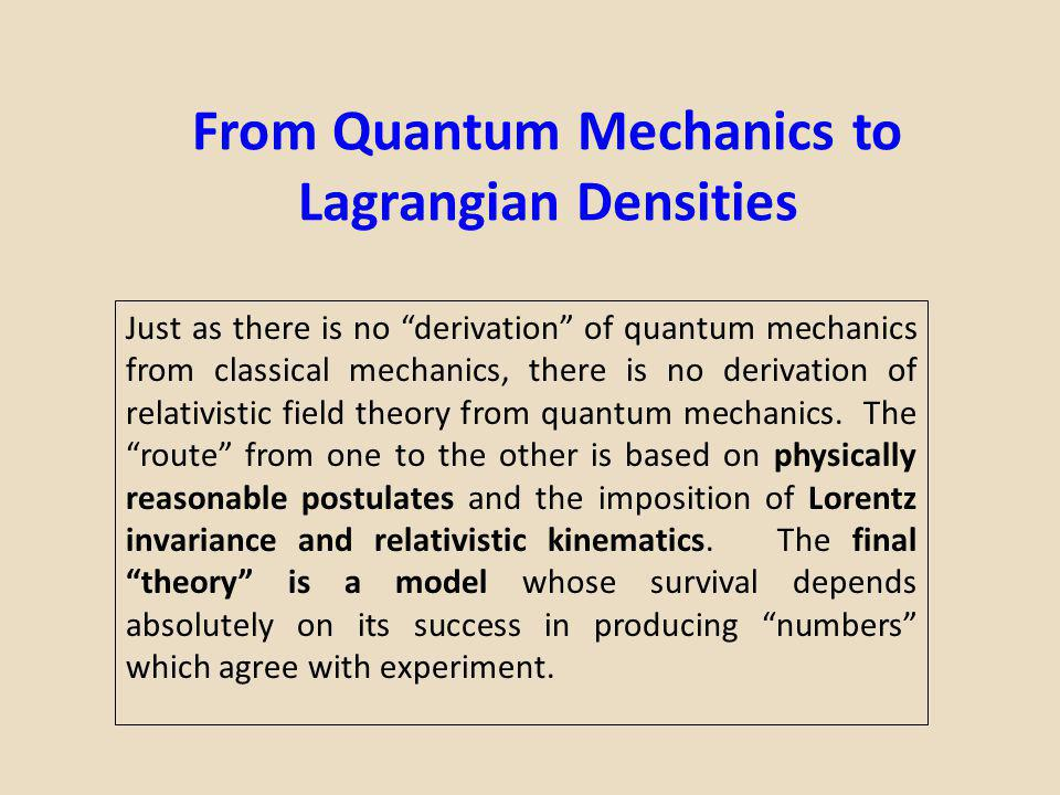 From Quantum Mechanics to Lagrangian Densities