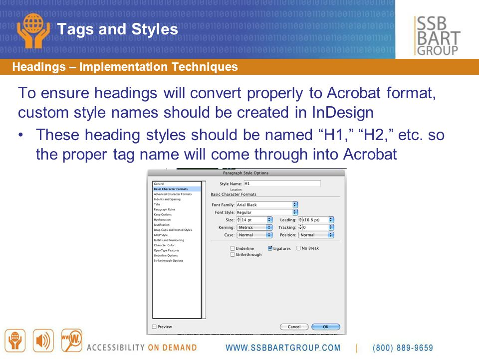 Tags and Styles Headings – Implementation Techniques.