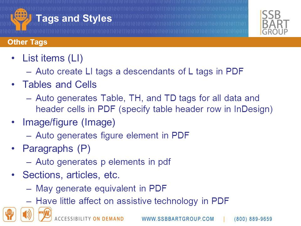Tags and Styles List items (LI) Tables and Cells Image/figure (Image)