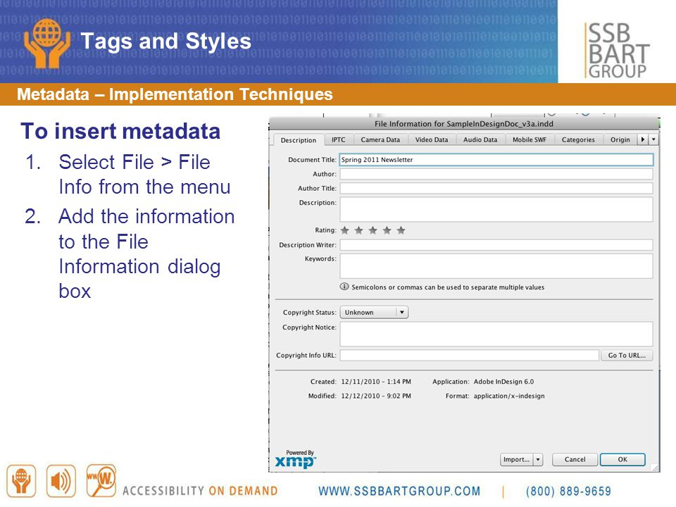 Tags and Styles To insert metadata