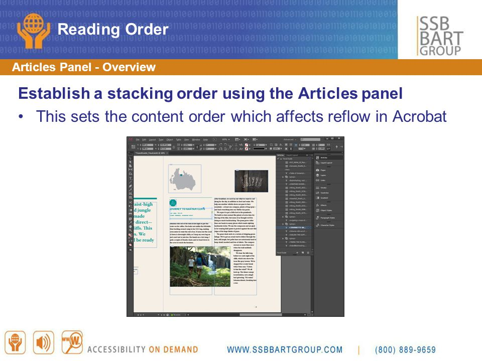 Establish a stacking order using the Articles panel