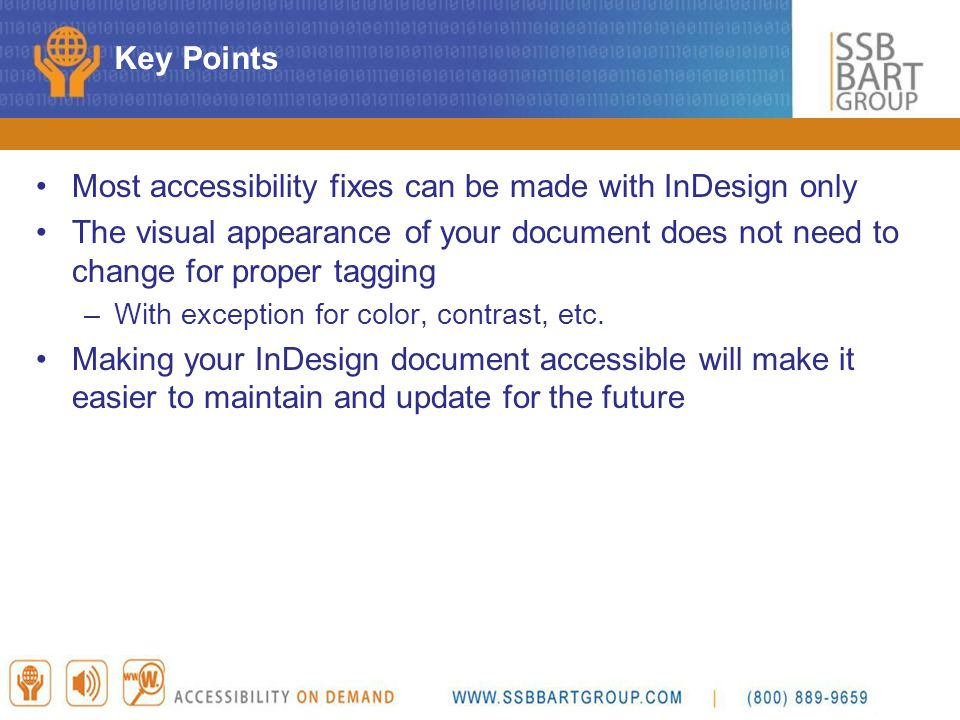 Most accessibility fixes can be made with InDesign only
