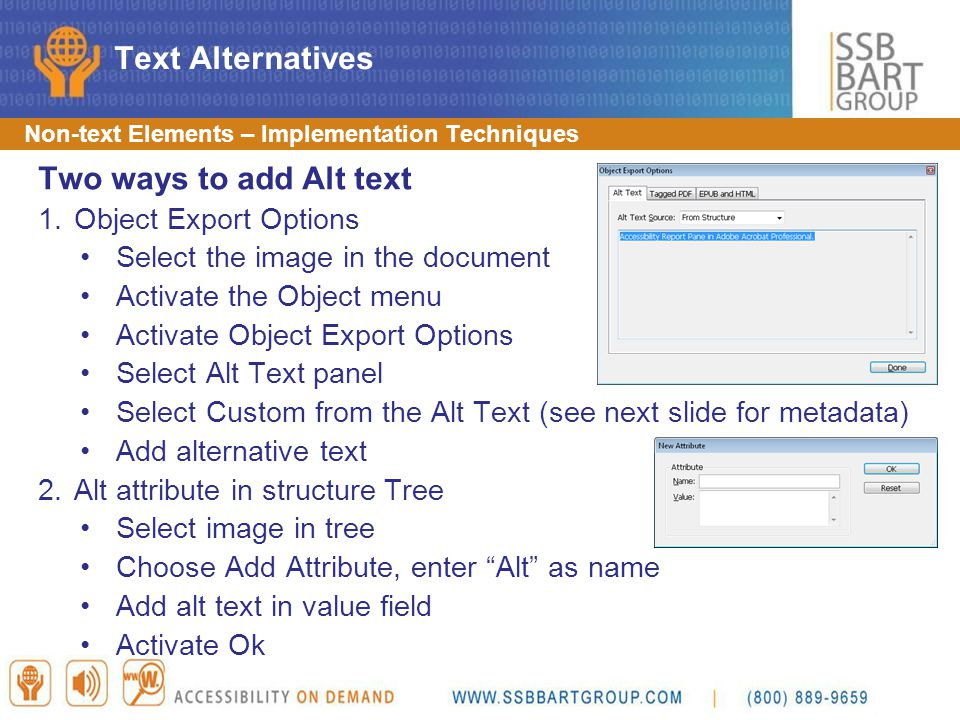 Text Alternatives Two ways to add Alt text Object Export Options