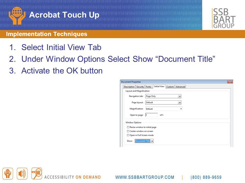 Select Initial View Tab