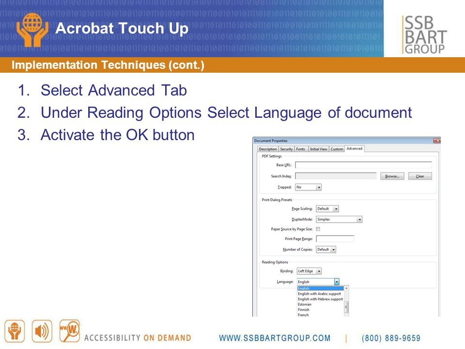 Under Reading Options Select Language of document