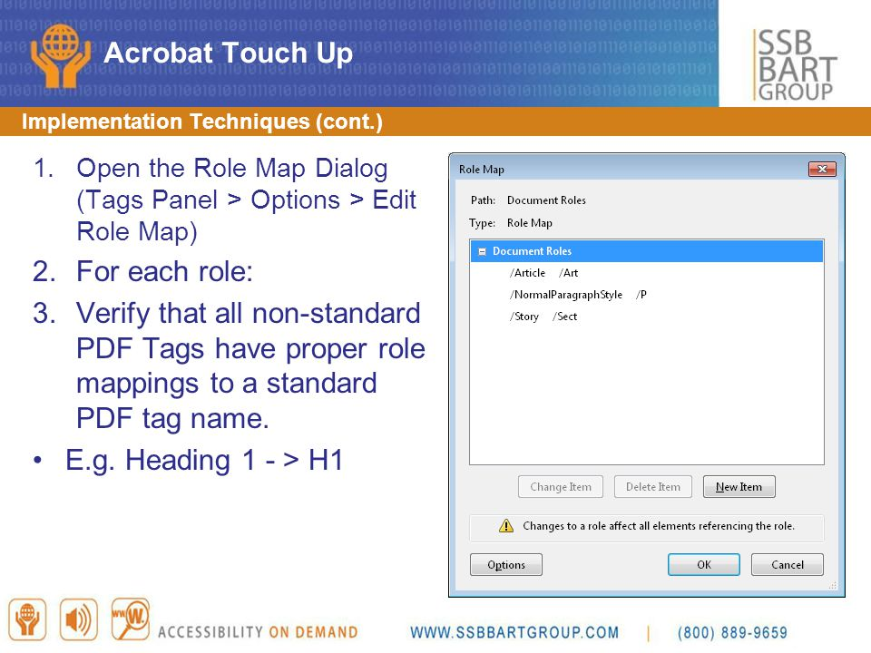 Acrobat Touch Up For each role:
