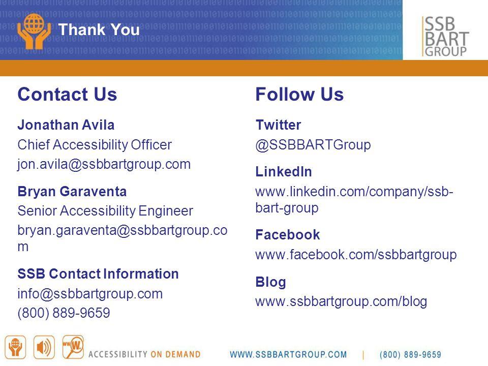 Contact Us Follow Us Thank You Jonathan Avila