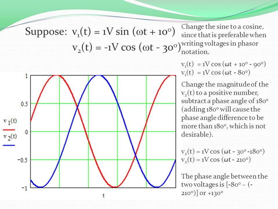 Suppose: v1(t) = 1V sin (wt + 10o) v2(t) = -1V cos (wt - 30o)
