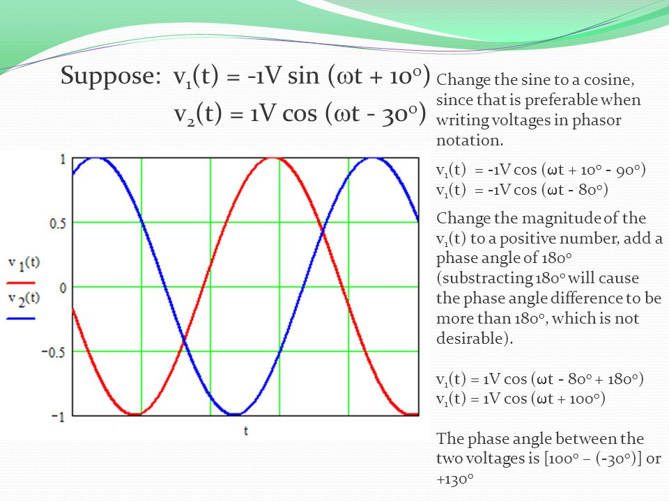 Suppose: v1(t) = -1V sin (wt + 10o) v2(t) = 1V cos (wt - 30o)