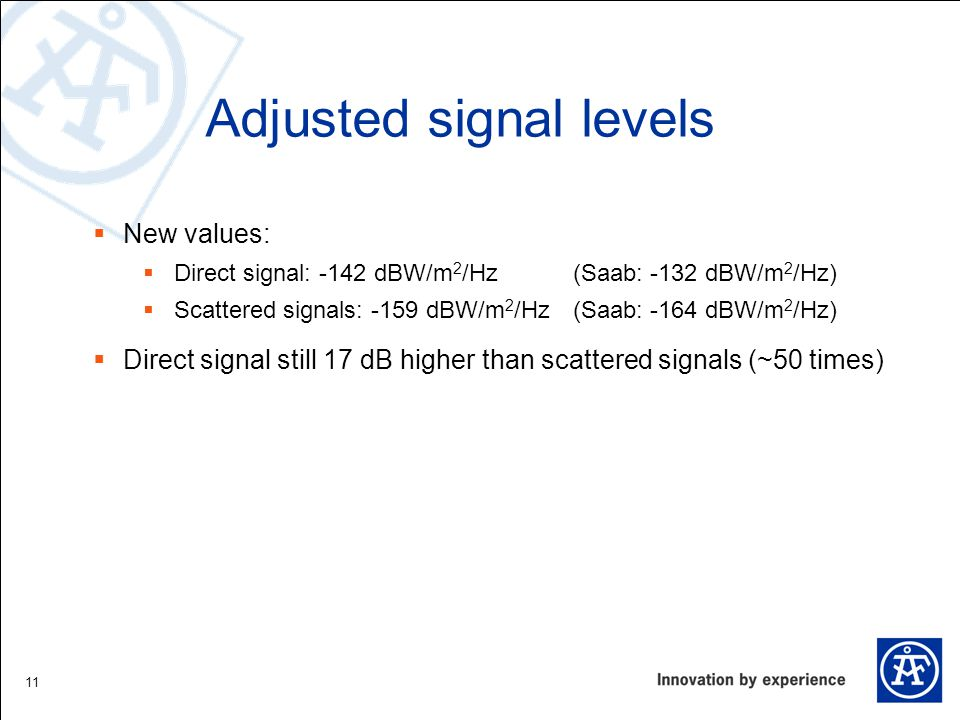 Adjusted signal levels