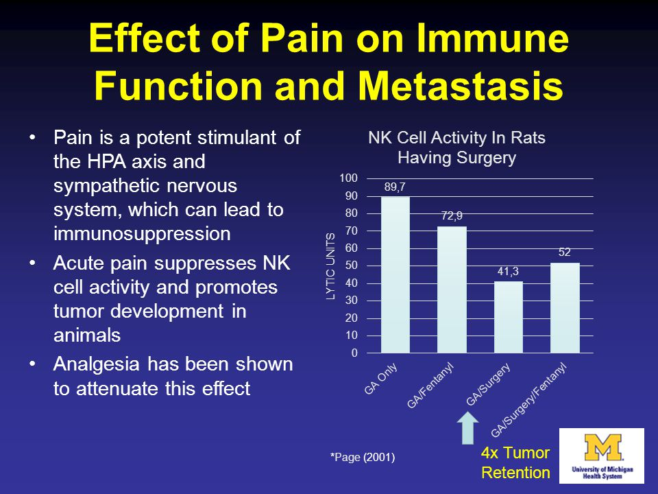 Effect of Pain on Immune Function and Metastasis
