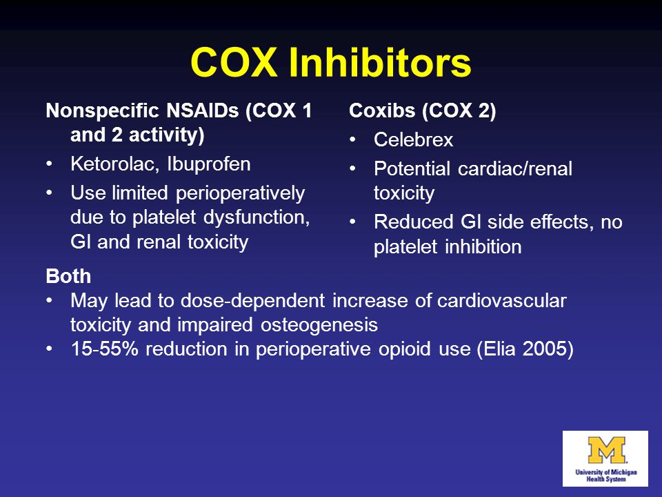 COX Inhibitors Nonspecific NSAIDs (COX 1 and 2 activity)