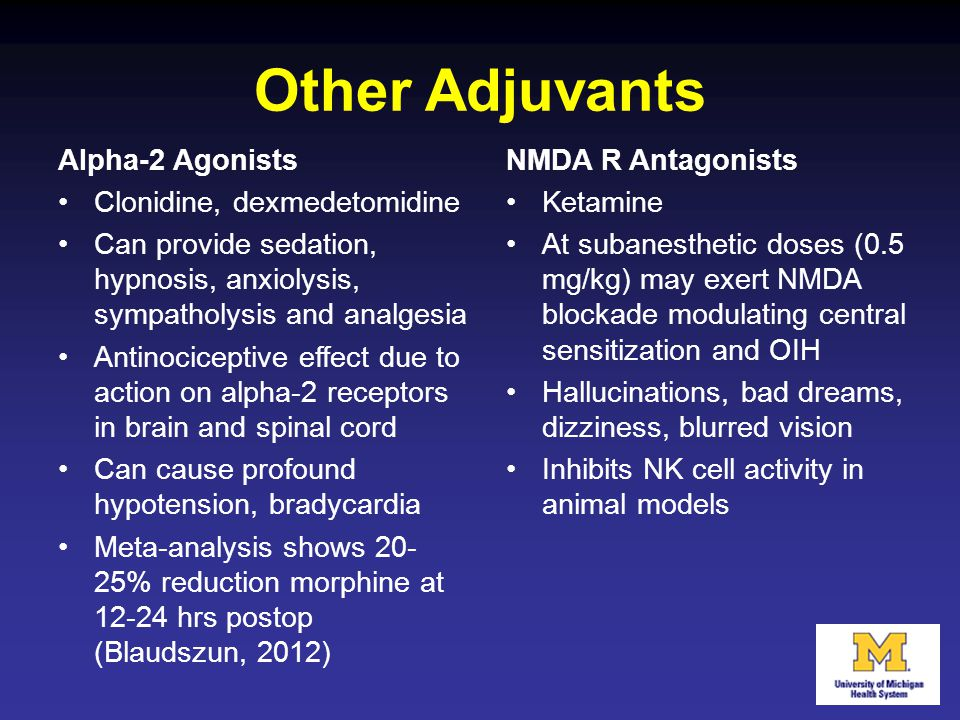 Other Adjuvants Alpha-2 Agonists Clonidine, dexmedetomidine