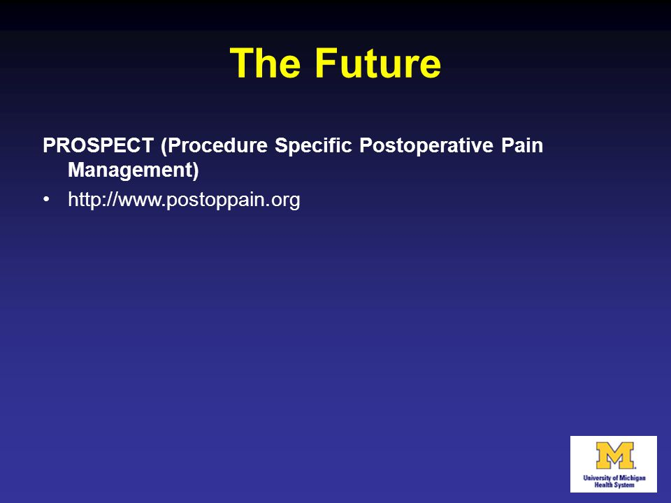 The Future PROSPECT (Procedure Specific Postoperative Pain Management)