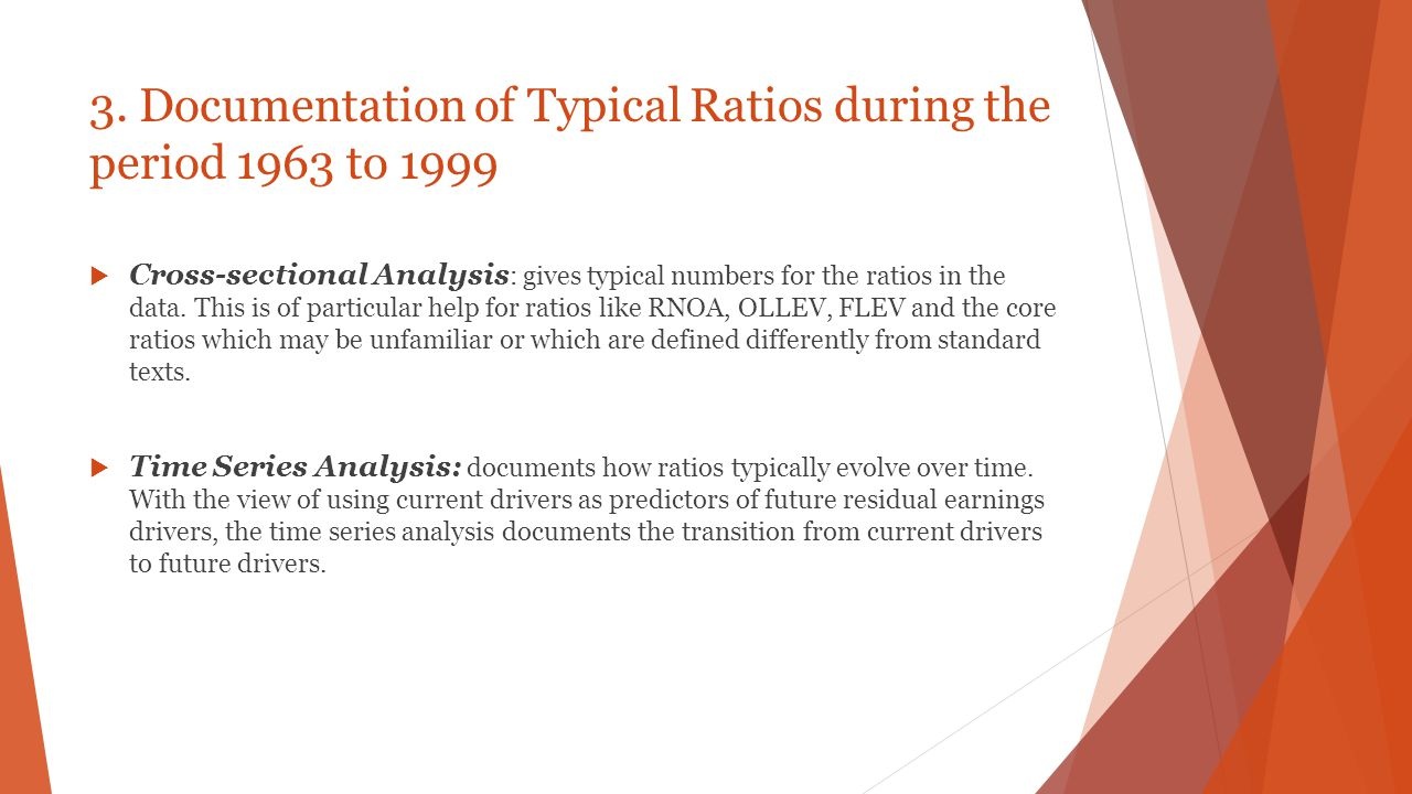 3. Documentation of Typical Ratios during the period 1963 to 1999
