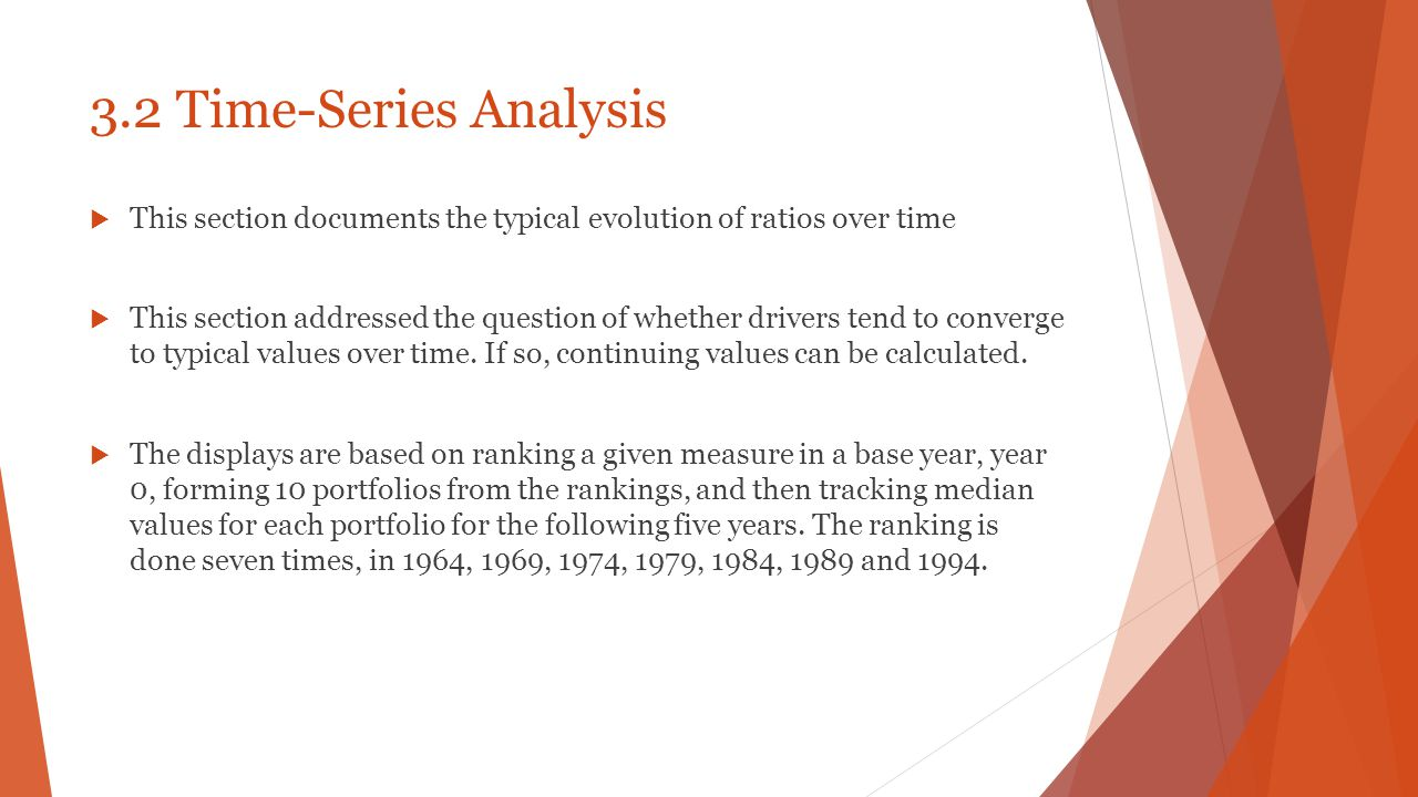 3.2 Time-Series Analysis This section documents the typical evolution of ratios over time.