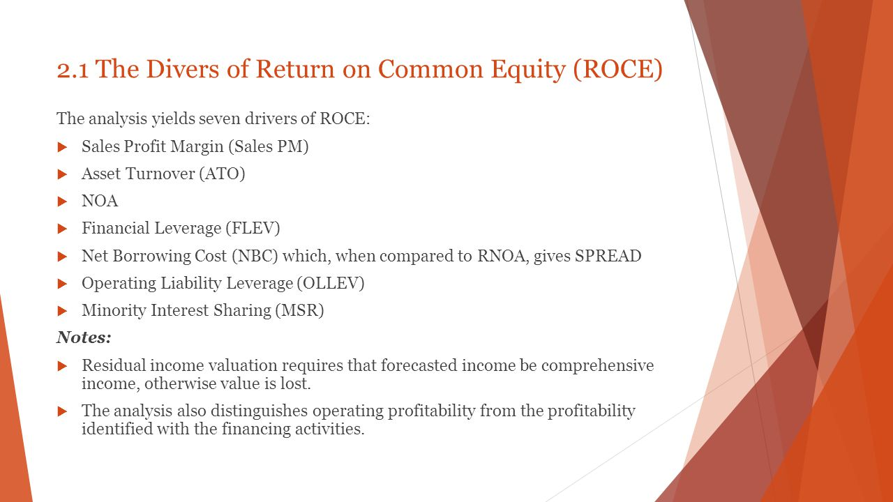 2.1 The Divers of Return on Common Equity (ROCE)
