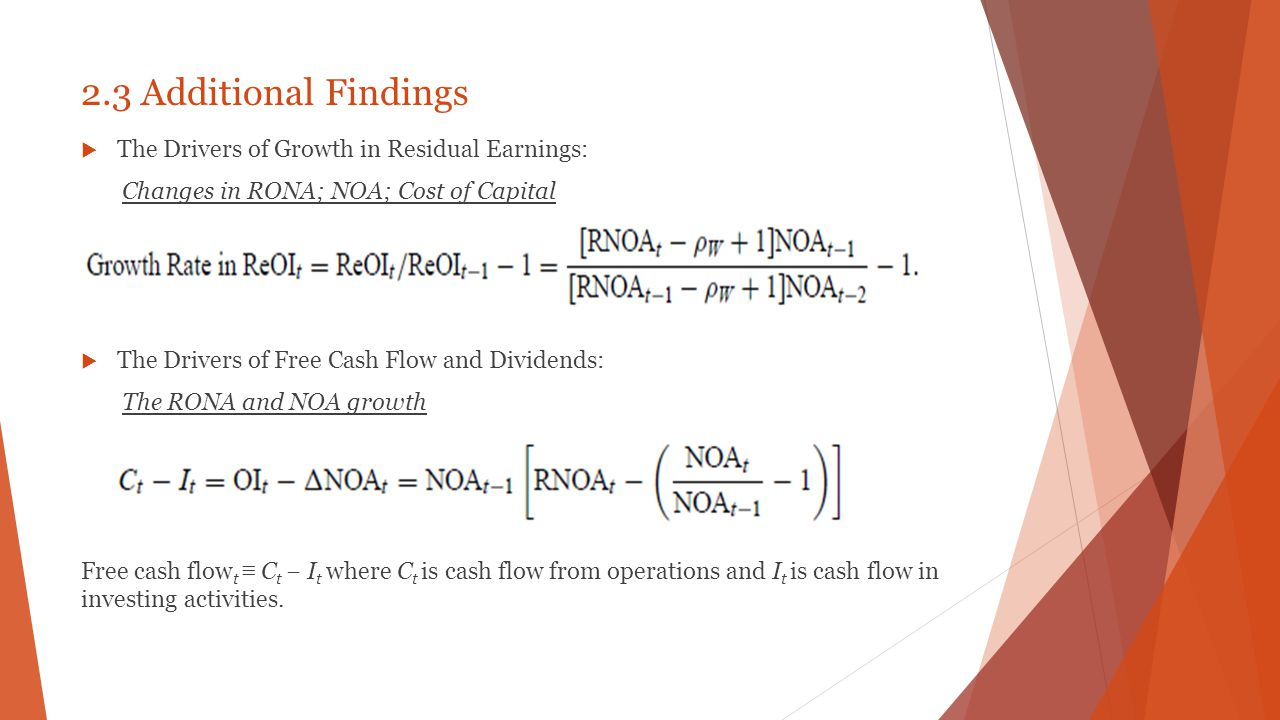 2.3 Additional Findings The Drivers of Growth in Residual Earnings: