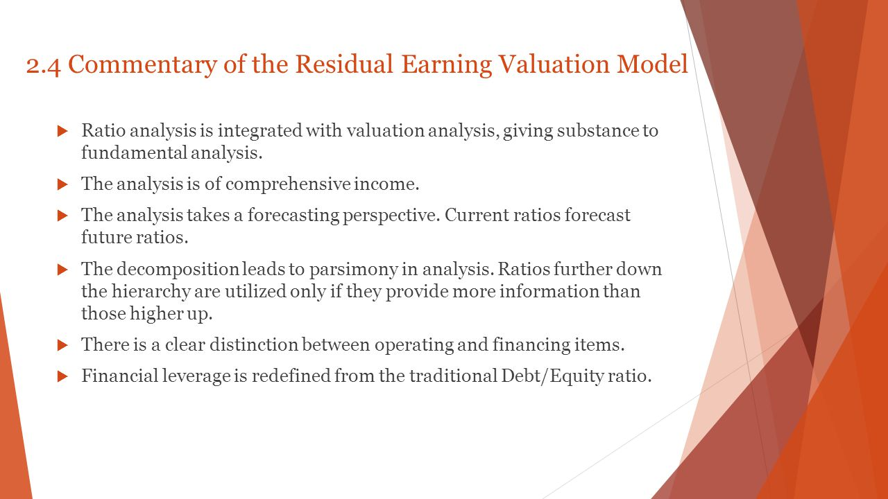 2.4 Commentary of the Residual Earning Valuation Model