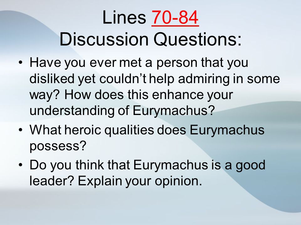 Lines 70-84 Discussion Questions:
