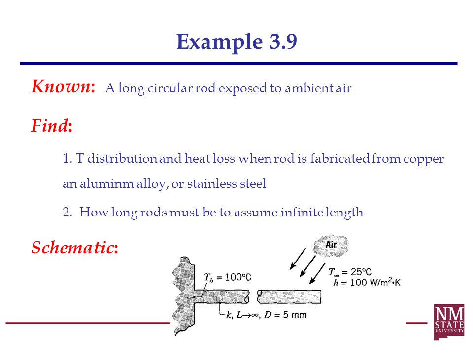 Example 3.9 Known: A long circular rod exposed to ambient air Find: