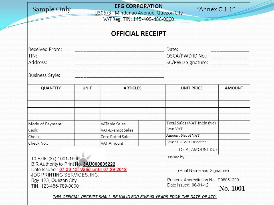 OFFICIAL RECEIPT No Sample Only Annex C11 EFG CORPORATION – Sample Official Receipt