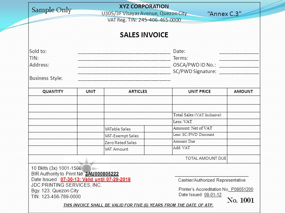 THIS INVOICE SHALL BE VALID FOR FIVE (5) YEARS FROM THE DATE OF ATP.