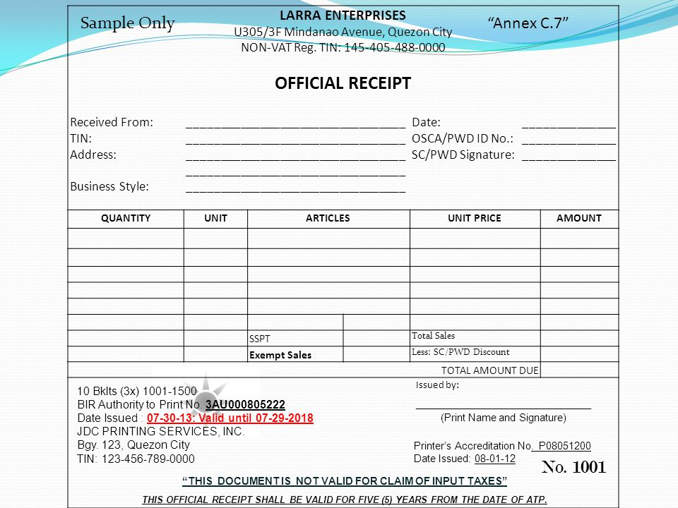 THIS DOCUMENT IS NOT VALID FOR CLAIM OF INPUT TAXES
