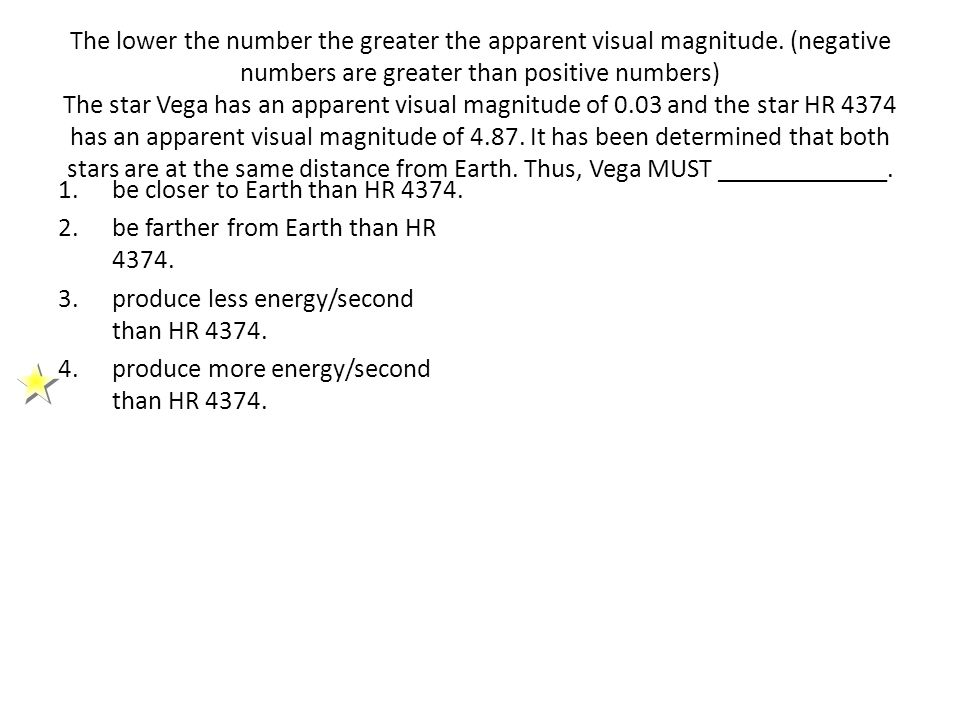 The lower the number the greater the apparent visual magnitude