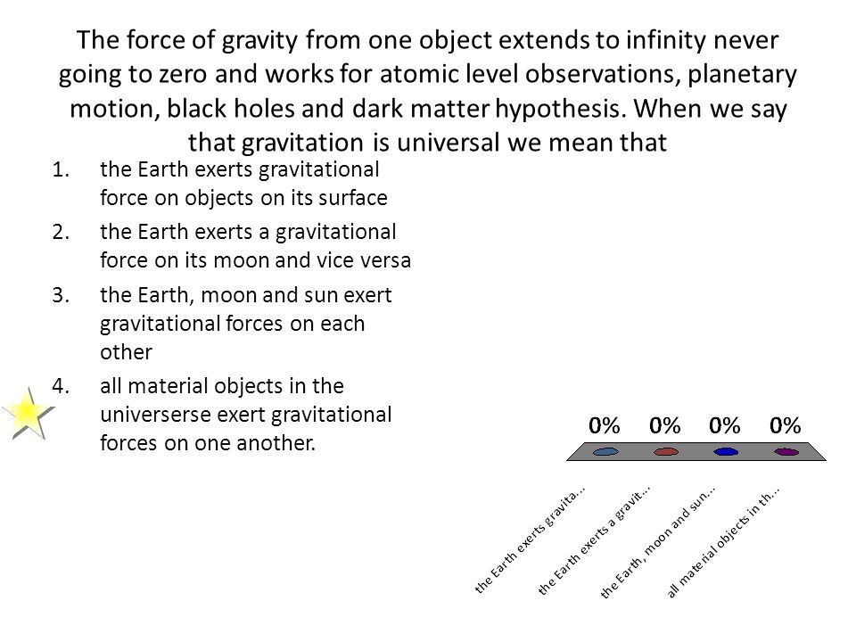 The force of gravity from one object extends to infinity never going to zero and works for atomic level observations, planetary motion, black holes and dark matter hypothesis. When we say that gravitation is universal we mean that
