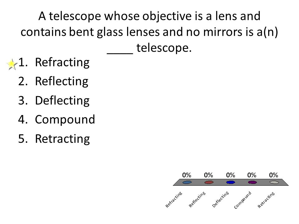 A telescope whose objective is a lens and contains bent glass lenses and no mirrors is a(n) ____ telescope.