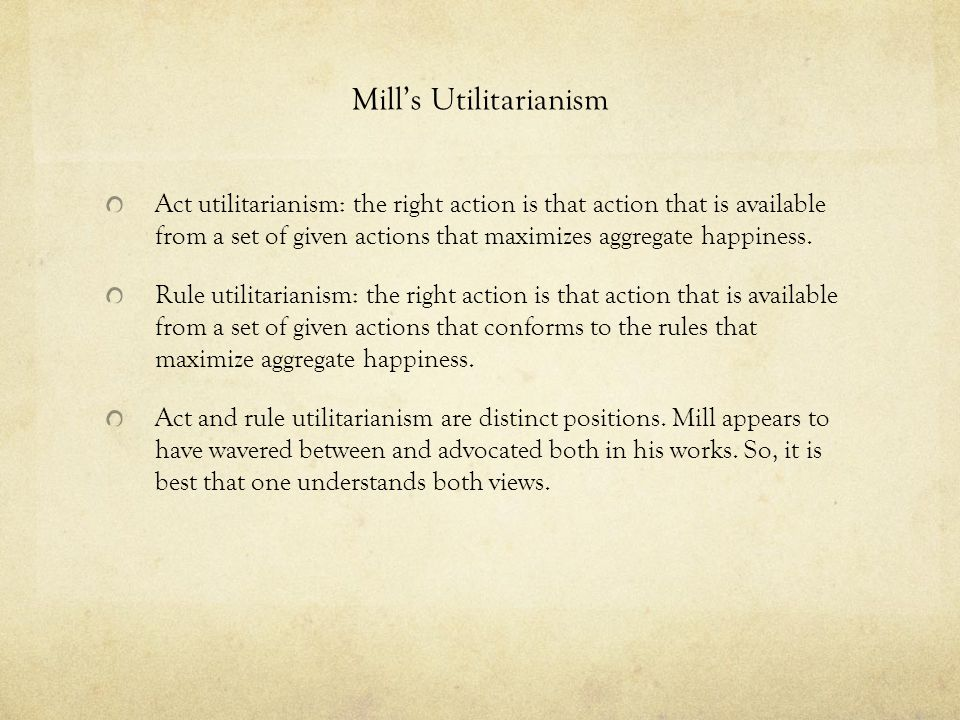 Mill's Utilitarianism