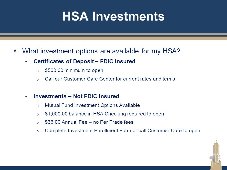 HSA Investments What investment options are available for my HSA