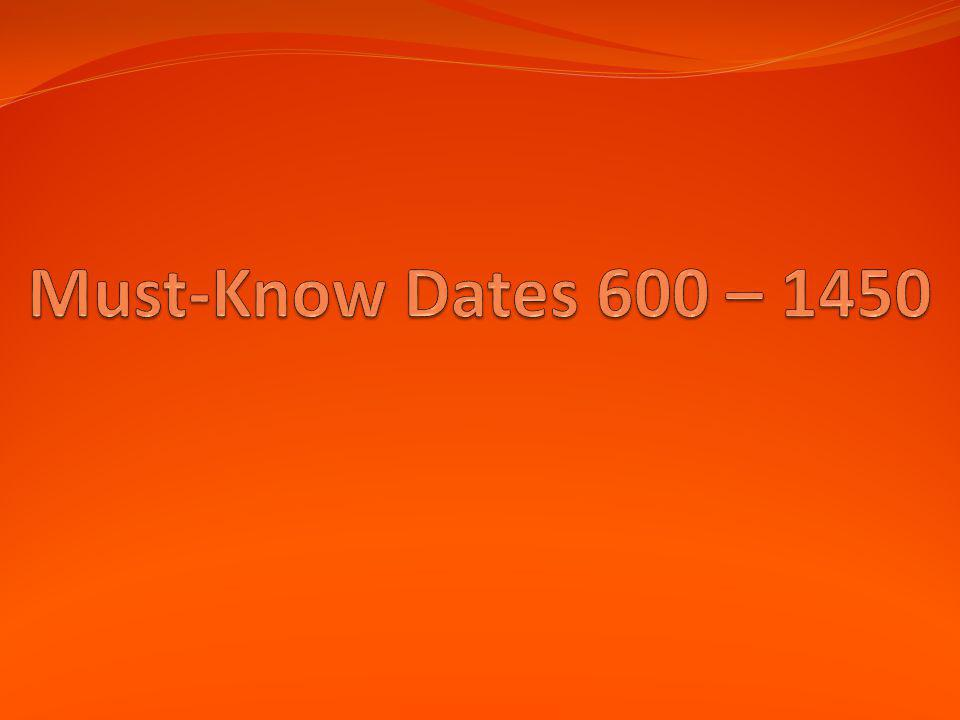 Must-Know Dates 600 – 1450