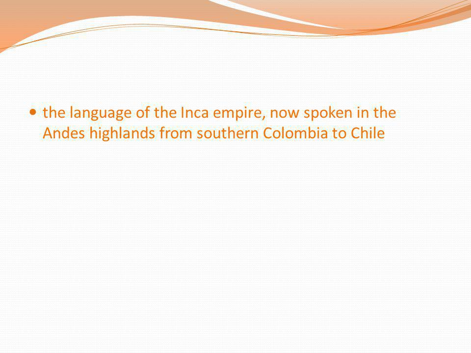 the language of the Inca empire, now spoken in the Andes highlands from southern Colombia to Chile