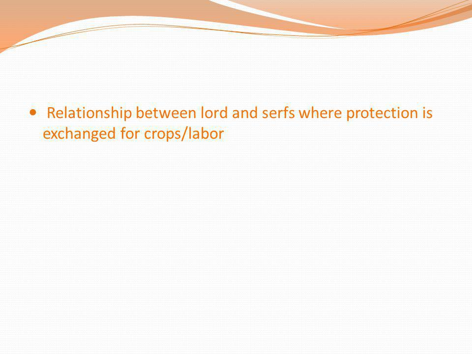 Relationship between lord and serfs where protection is exchanged for crops/labor