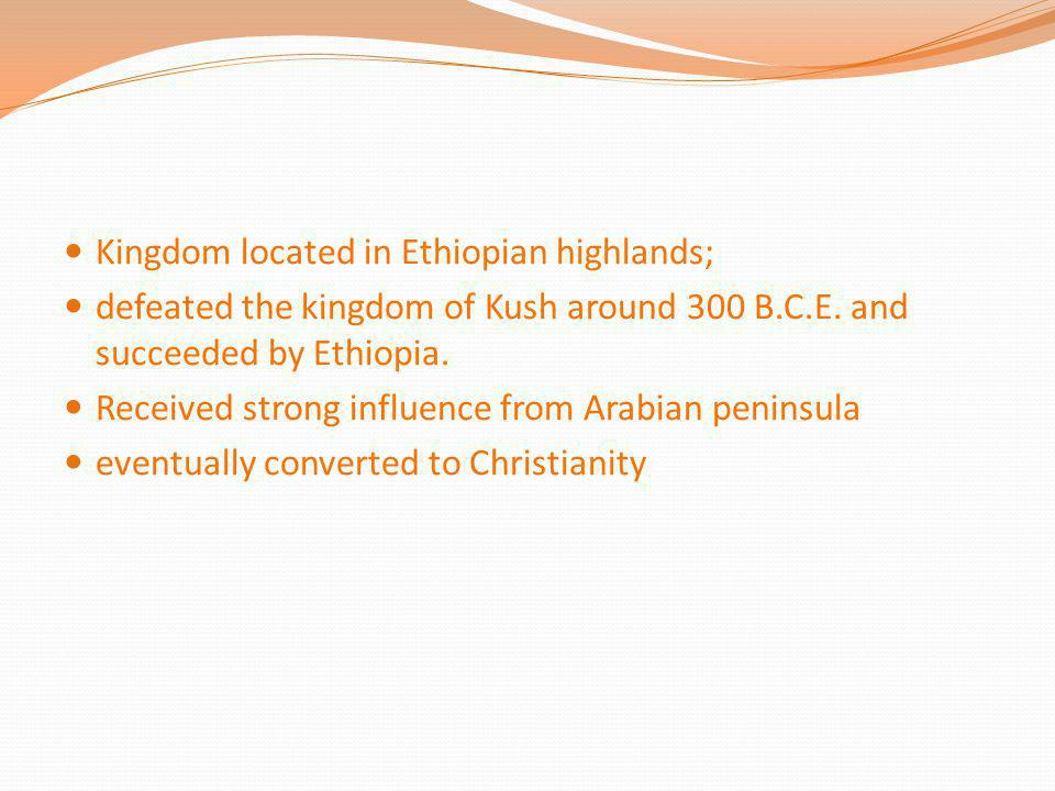 Kingdom located in Ethiopian highlands;