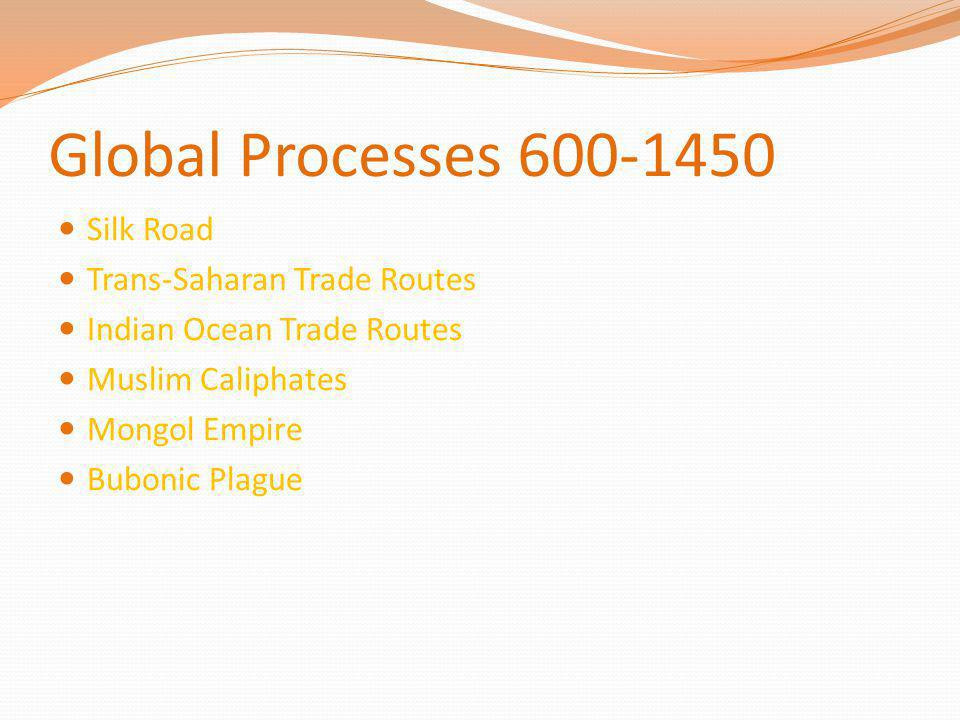 Global Processes 600-1450 Silk Road Trans-Saharan Trade Routes