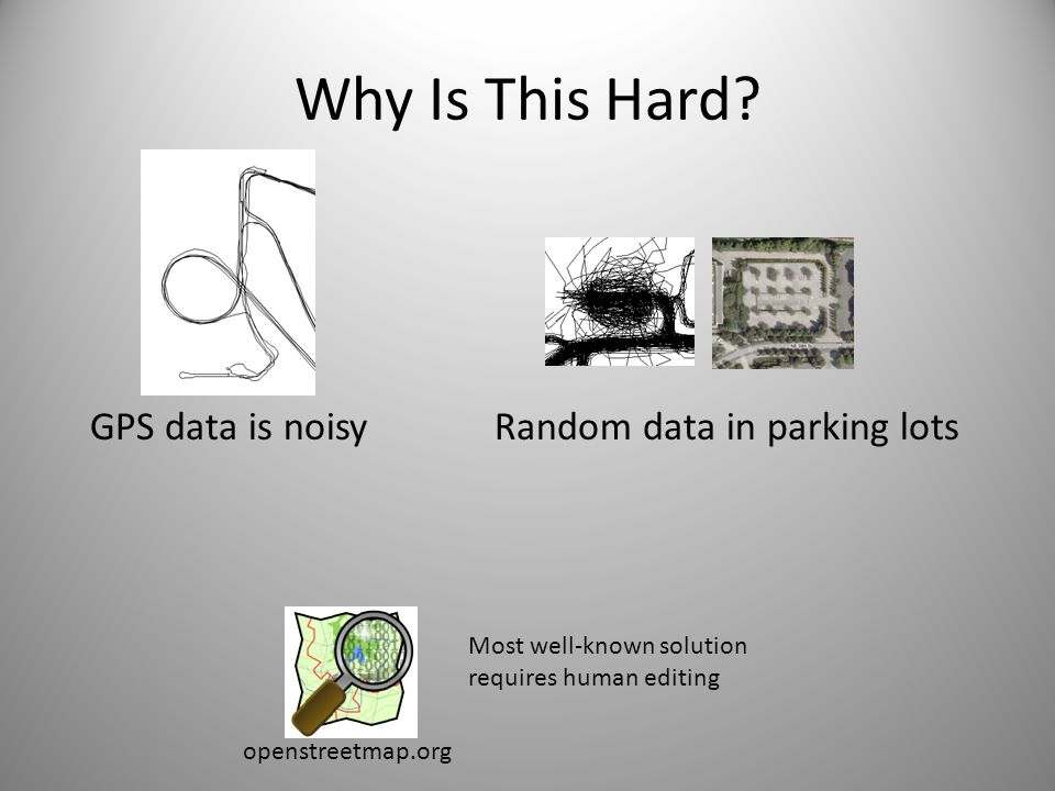 Why Is This Hard GPS data is noisy Random data in parking lots