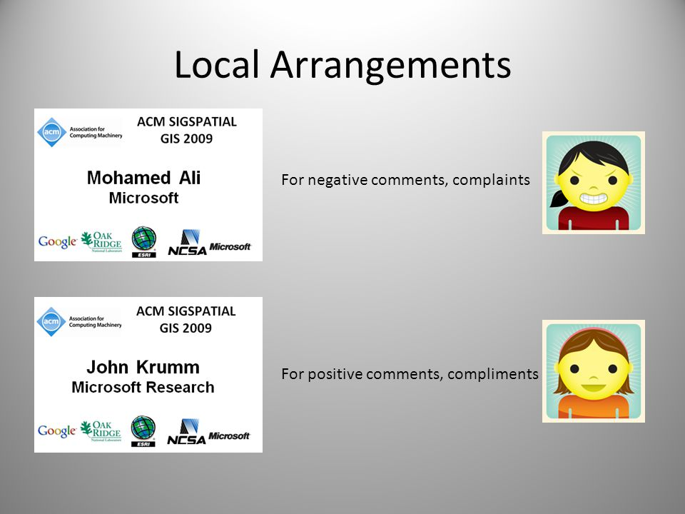 Local Arrangements For negative comments, complaints