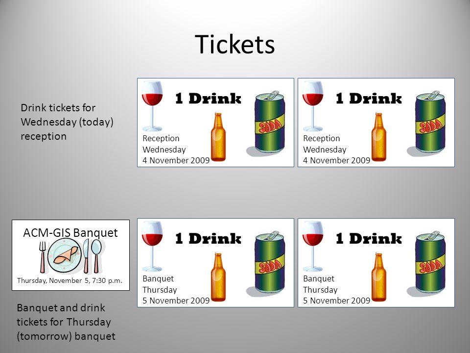 Tickets 1 Drink 1 Drink 1 Drink 1 Drink ACM-GIS Banquet
