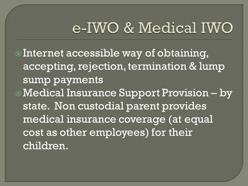 e-IWO & Medical IWO Internet accessible way of obtaining, accepting, rejection, termination & lump sump payments.