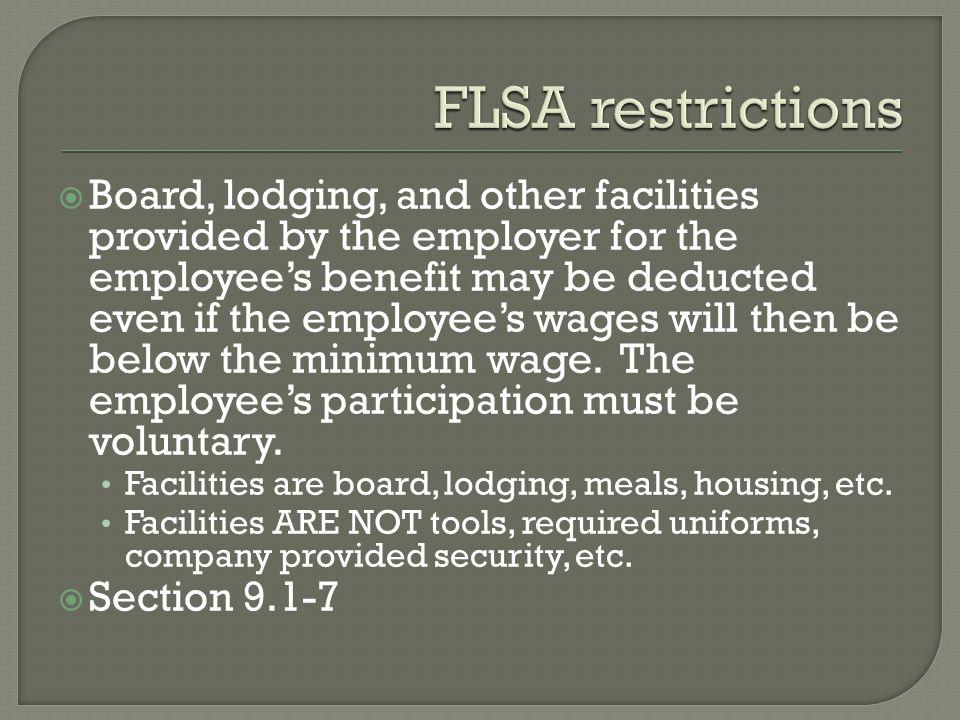 FLSA restrictions