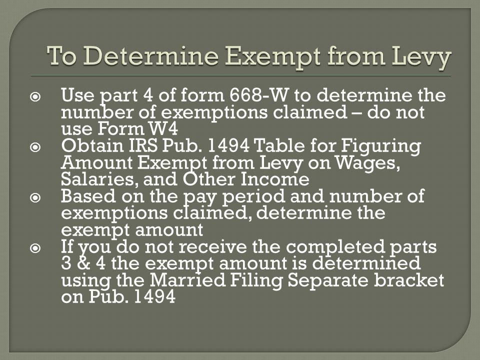 To Determine Exempt from Levy