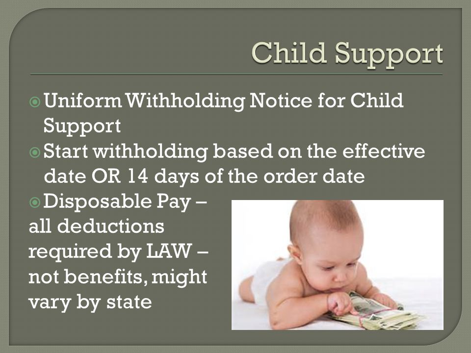 Child Support Uniform Withholding Notice for Child Support
