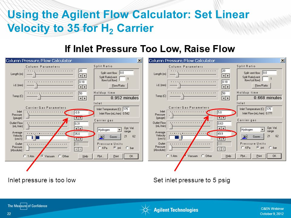 Using the Agilent Flow Calculator: Set Linear Velocity to 35 for H2 Carrier