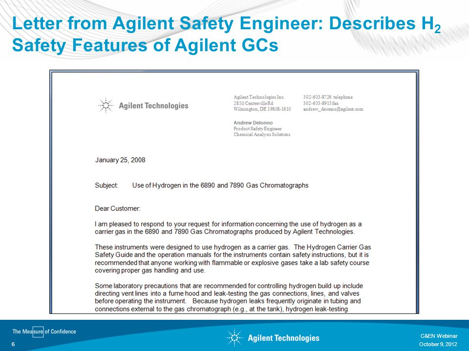Letter from Agilent Safety Engineer: Describes H2 Safety Features of Agilent GCs