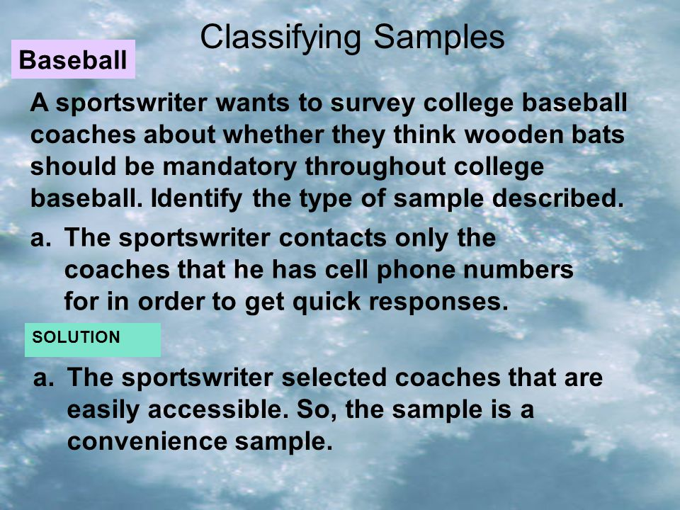 Classifying Samples Baseball